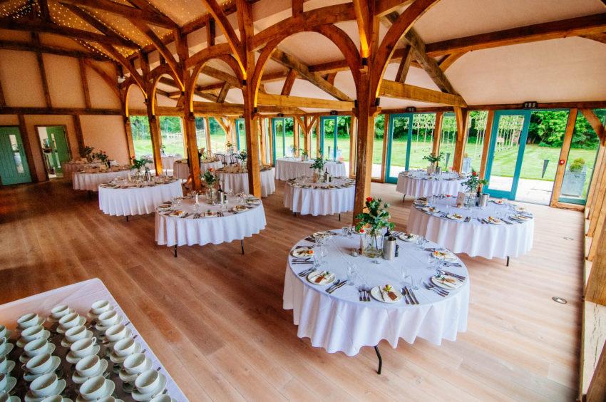 A wedding venue in Taranaki set up for reception.