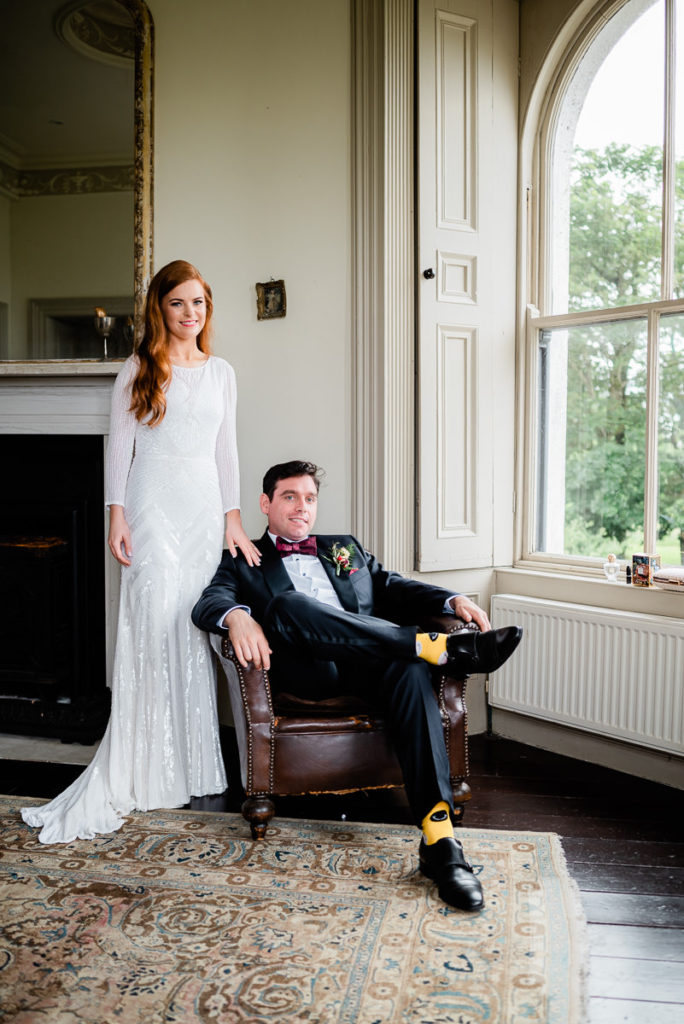 Newly married couple at a photography shoot at Markree Castle in Sligo